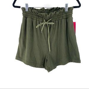 Shosho Women's Rib Knit Lace Tie Shorts - M